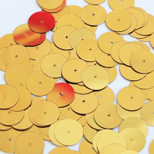 Round sequins 15mm Dark Yellow Gold Metallic