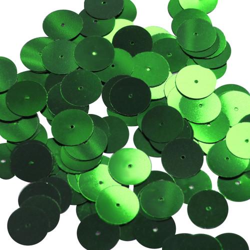 Round sequins 15mm Kelly Green Metallic
