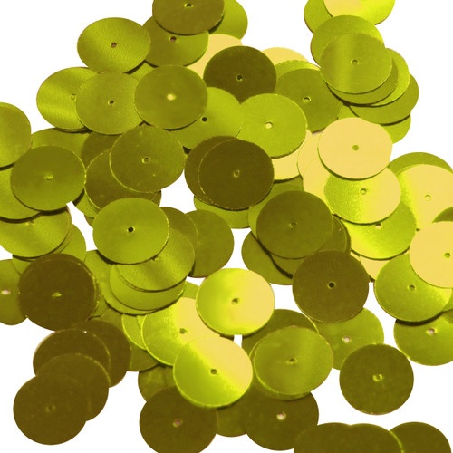 Round sequins 15mm Lime Yellow Metallic