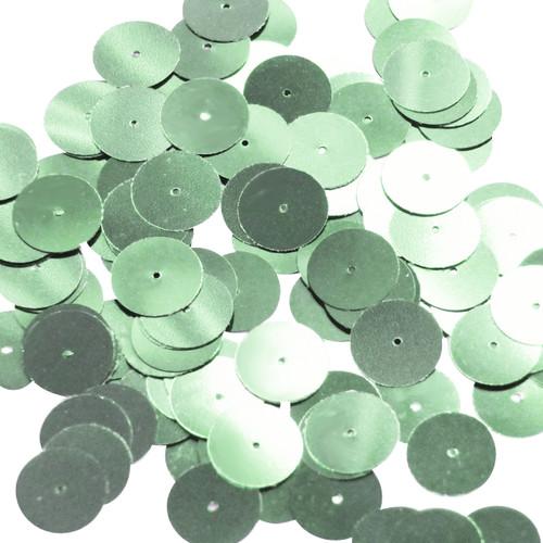 Round sequins 15mm Pale Green Metallic