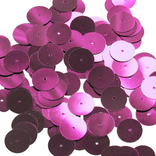 Round sequins 15mm Raspberry Metallic