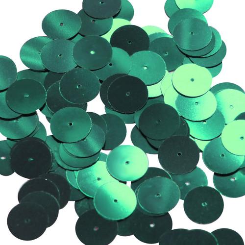 Round sequins 15mm Emerald Green Metallic