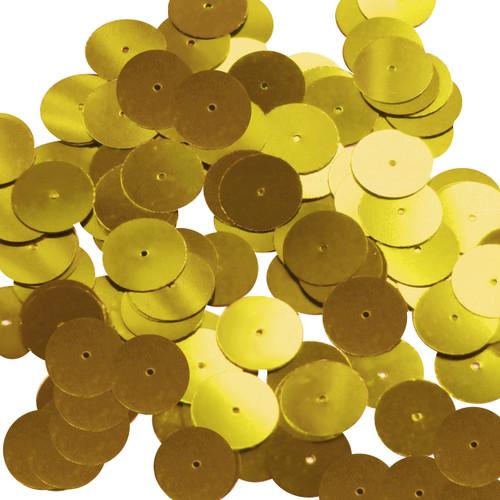 Round sequins 15mm Medium Gold Metallic