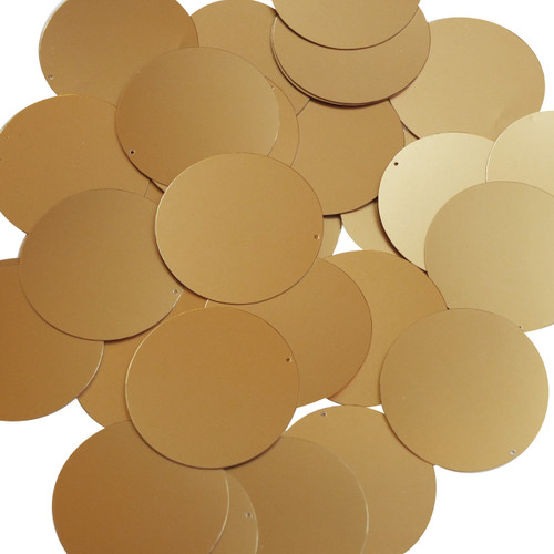 Round sequins 40mm Gold Matte Satin Metallic