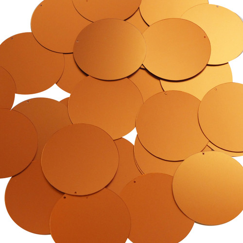 Round sequins 40mm Orange Matte Satin Metallic