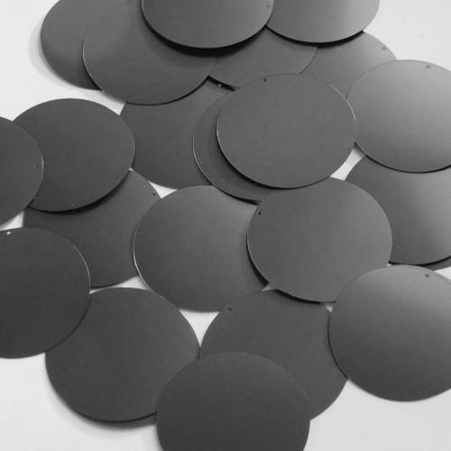 Round sequins 40mm Black Matte Satin Metallic