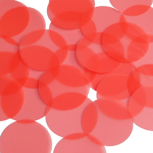 Round sequins 40mm Bright Salmon Fluorescent Transparent Glossy and Matte Duo Two Sided