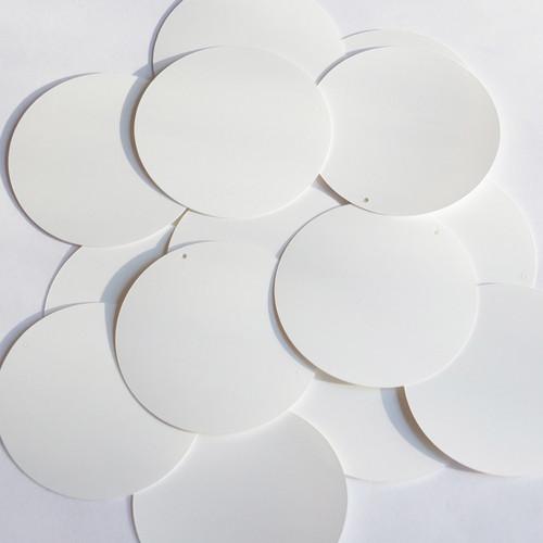 """Round sequins 2"""" White Matte Silk Frost"""