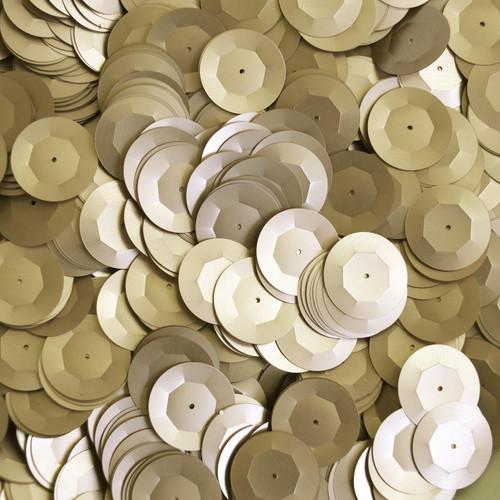 20mm Cup Round Sequins Gold Matte Silk Frost