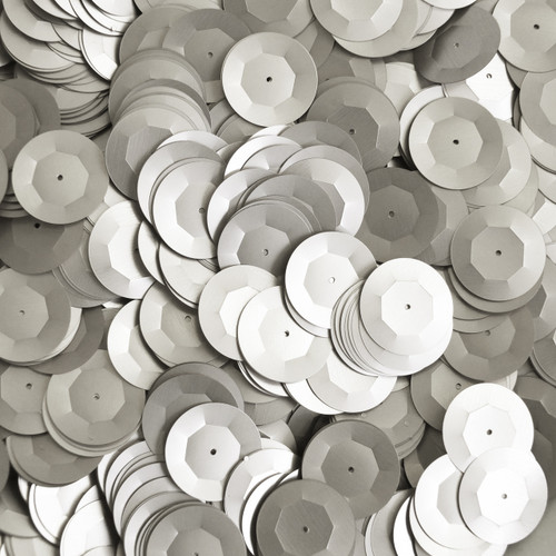 20mm Cup Round Sequins Silver Matte Silk Frost