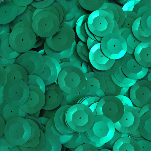 20mm Cup Round Sequins Green Matte Silk Frost