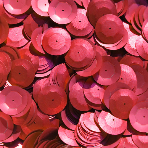 20mm Cup Round Sequins Red Matte Silk Frost