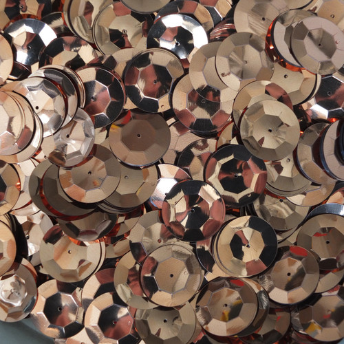 20mm Cup Round Sequins Copper Shiny Metallic