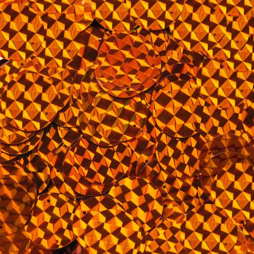 20mm Flat Round Sequins Orange Prism Metallic