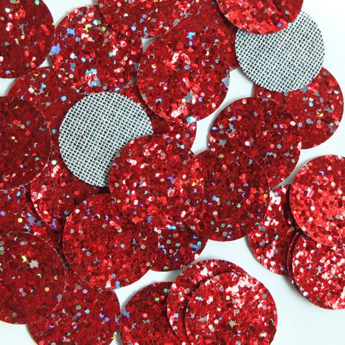 Round Disc Red  Glitter Fabric Super Sparkle