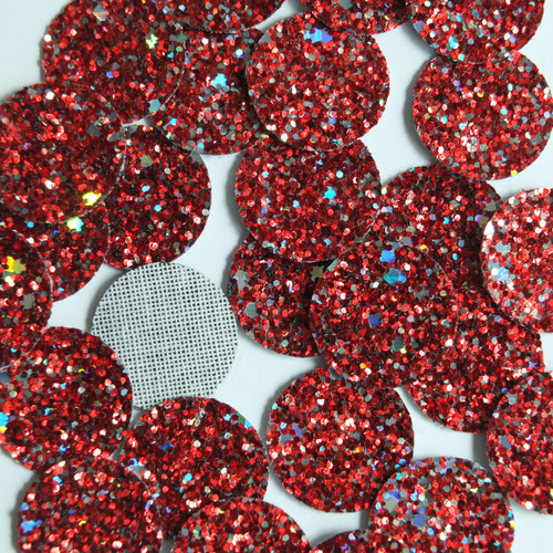 Round Disc Red Fireworks Glitter Fabric Super Sparkle