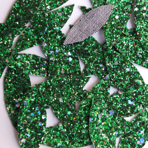 Green Glitter Fabric  Super Sparkle Hand Cut Leaves