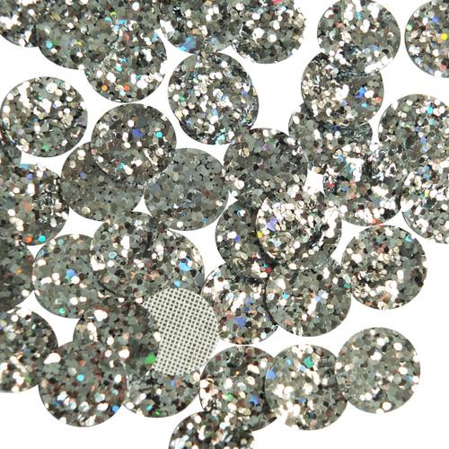 Round Disc Silver Glitter Fabric Super Sparkle