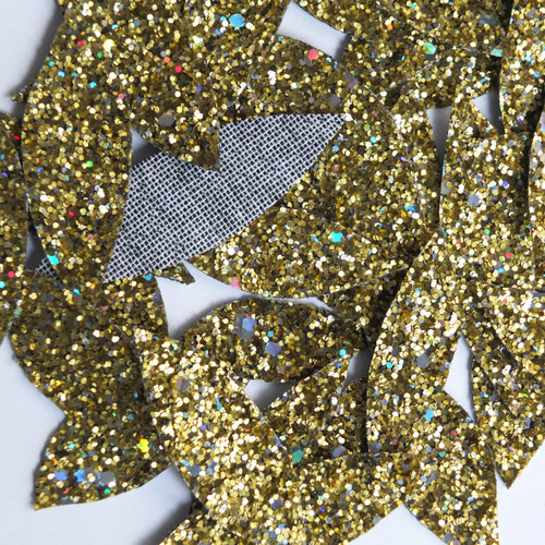 Gold Glitter Fabric Super Sparkle Hand Cut Leaves