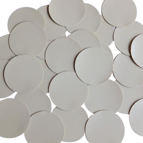 Round Sequin Paillettes 40mm Two Hole Beige Tan Opaque Vinyl