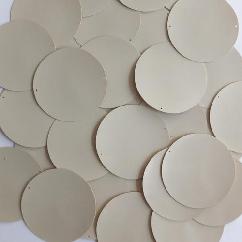 Round Sequin Paillettes 40mm No Hole Beige Tan Opaque Vinyl