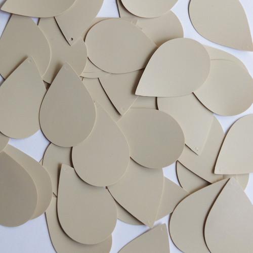 """Teardrop Sequin 1.5"""" Beige Tan Opaque Vinyl"""