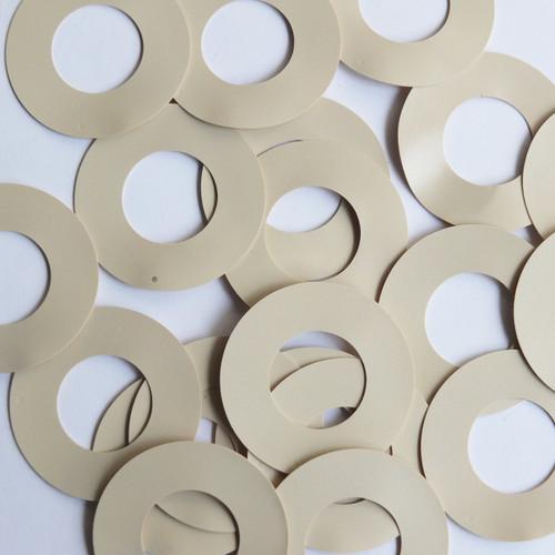 """Donut Ring Sequin 1.5"""" Beige Tan Opaque Vinyl"""