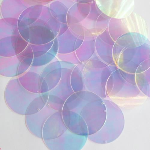 """Round Sequin 1.5"""" Crystal Crystallina Iris Mirror Iridescent"""