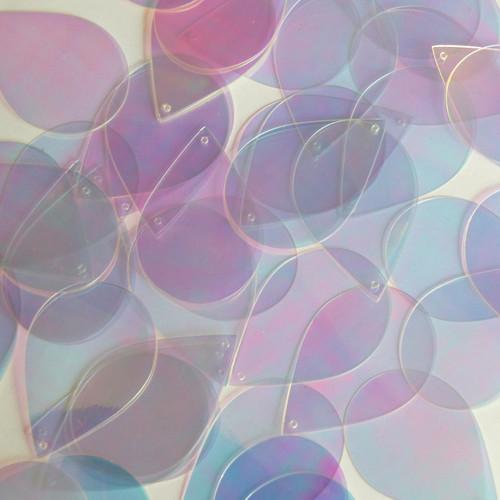 """Teardrop Sequin 1.5"""" Crystal Crystallina Iris Mirror Iridescent"""