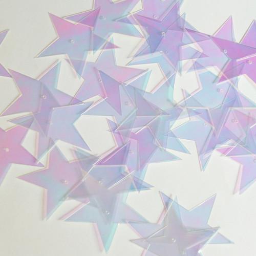 """Star 5 Point Sequin 1.5"""" Crystal Crystallina Iris Mirror Iridescent"""