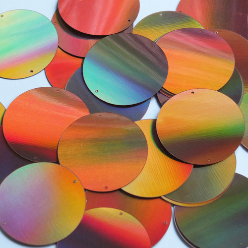 Round Sequin Paillettes 40mm Two Hole Copper Lazersheen Reflective Metallic