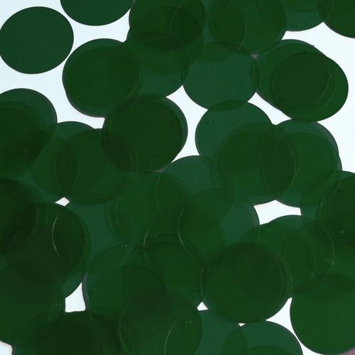 Round Sequin 24mm Deep Dark Green Transparent Glossy See-Thru