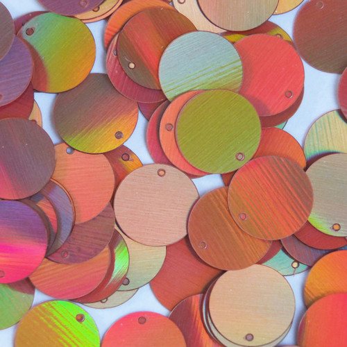 Round Sequin Paillettes 18mm Top Hole Copper Lazersheen Reflective Metallic