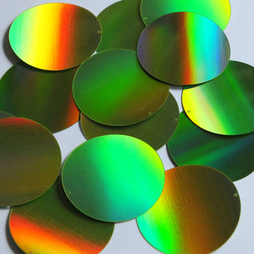 Round Sequin 50mm Lime Green Lazersheen Reflective Metallic