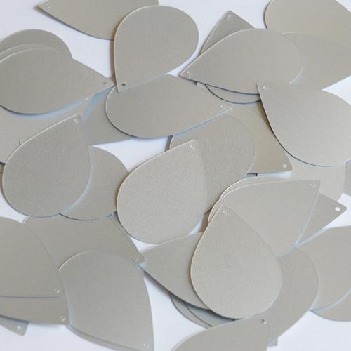 "Teardrop Sequin 1.5"" Silver Matte Satin Metallic"
