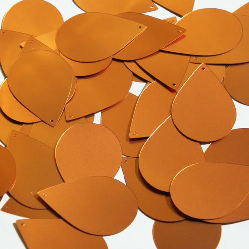 "Teardrop Sequin 1.5"" Orange Matte Satin Metallic"
