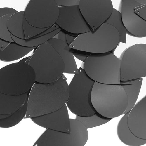"""Teardrop Sequin 1.5"""" Black Matte Satin Metallic"""