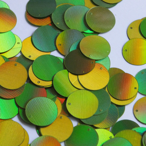 Round Sequin Paillettes 15mm Top Hole Lime Green Lazersheen Reflective Metallic