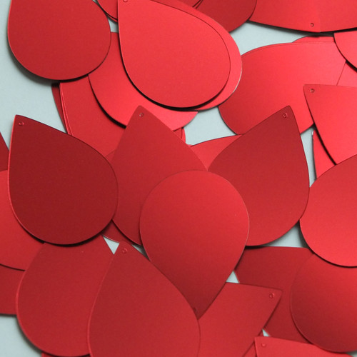 "Teardrop Sequin 1.5"" Red Matte Satin Metallic"