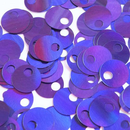 Large Hole Round Sequin 20mm Deep Purple Lazersheen Reflective Metallic