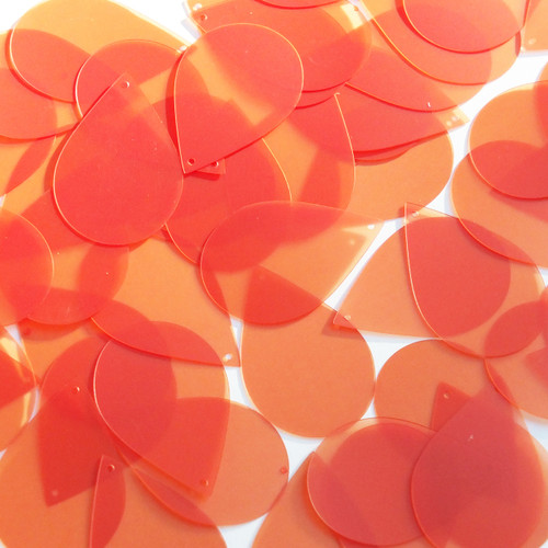 """Teardrop Sequin 1.5"""" Orange Transparent Glossy and Matte Duo Two Sided"""