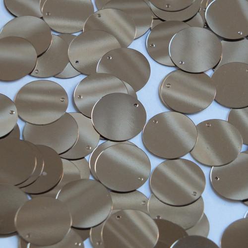 Round Sequin Paillettes 18mm Top Hole Pale Gold Metallic