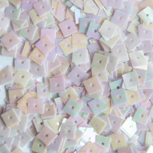 5mm Square Flat Sequins Pale Pink Lavender Rainbow Iris Shiny Opaque