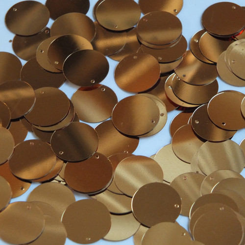 Round  Flat Sequin 12mm Top Hole Deep Gold Metallic