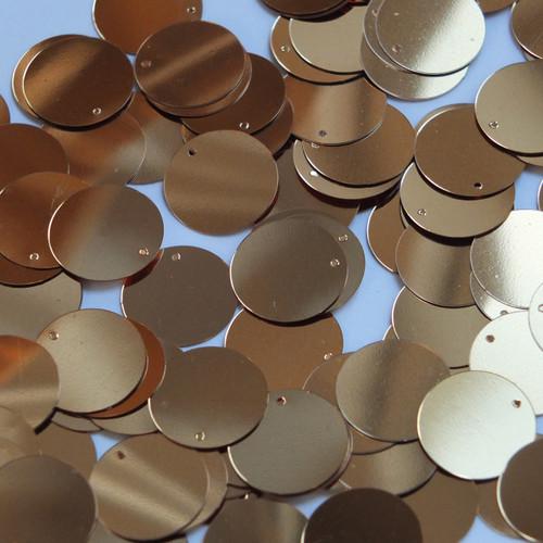 Round  Flat Sequin 15mm Top Hole Deep Gold Metallic