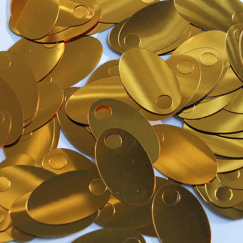 "Large Hole Oval Sequin 1.25"" Brassy Orange Gold Metallic"