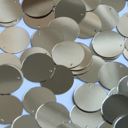 Round  Flat Sequin 18mm Top Hole Light Gold Metallic
