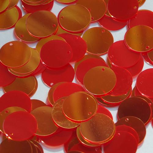 Round Flat Sequin 15mm Top Hole Red Lazersheen Rainbow Reflective Metallic