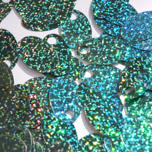"Large Hole Oval Sequin 1.25"" Light Sapphire Blue Hologram Glitter Sparkle"