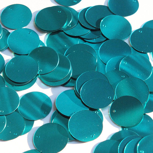 Round  Flat Sequin 18mm Top Hole Teal Turquoise Metallic